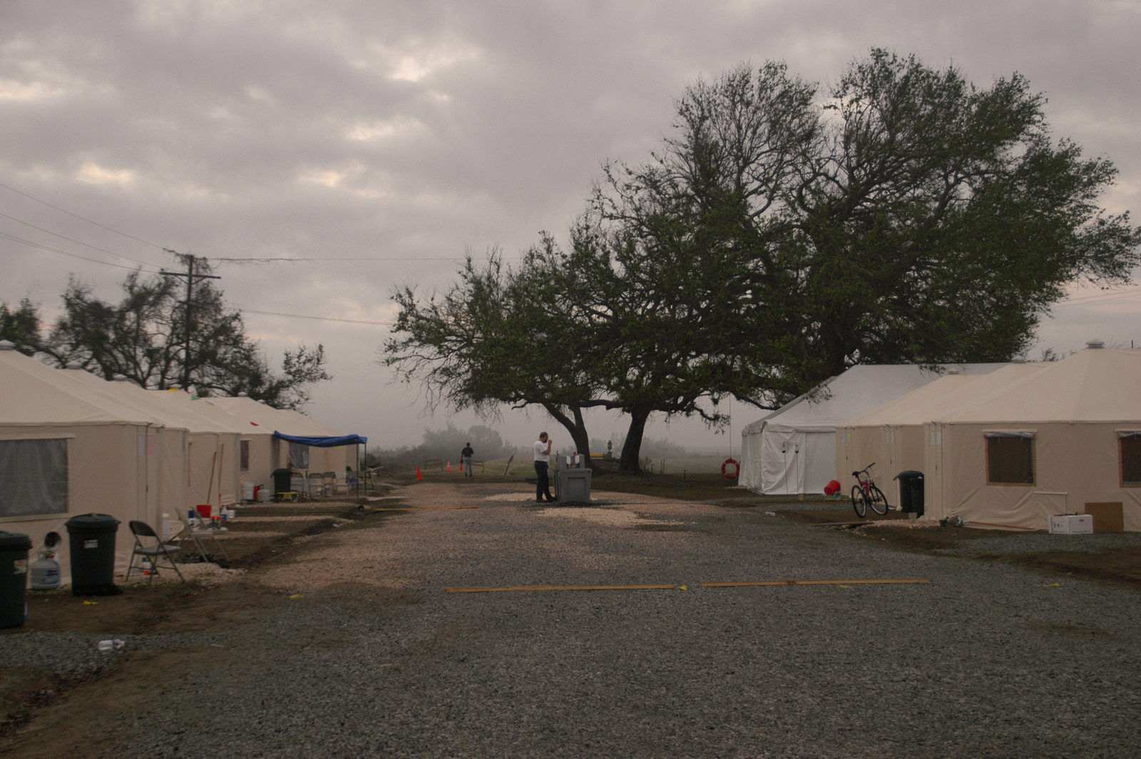 [Hurricane Rita] Cameron, LA, 11-10-05 -- FEMA Base camp workers sleep in these tents.  FEMA Base Camps are used when there are no other resources to house FEMA & emergency workers... in this case the nearest lodging, if you can find a room, is 70 miles away on rural roads.  MARVIN NAUMAN/FEMA photo
