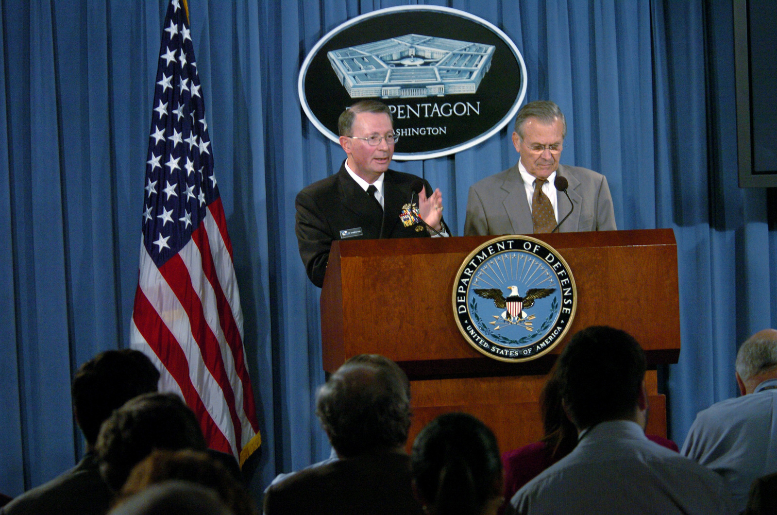 The Honorable Donald H. Rumsfeld (right), U.S. Secretary of Defense, and U.S. Navy Adm. Edmund P. Giambastiani (left), Vice Chairman of the Joint Chiefs of STAFF, answer questions during a press conference in the Pentagon on Nov. 15, 2005. (DoD photo by TECH. SGT. Sean P. Houlihan) (Released)