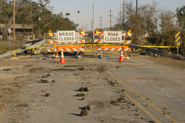 [Hurricane Rita] Cameron, LA, 11-17-05 -- Hurricane Rita wiped out this bridge causing a 30 mile detour.  FEMA is helping Local governments get Roads, Bridges, and Utilities back in operation so residents can move back.  MARVIN NAUMAN/FEMA photo