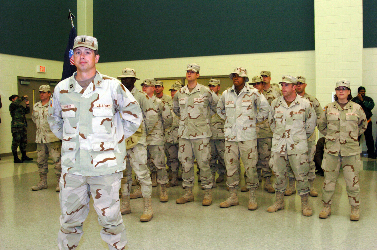 Us Army Usa Captain Cpt Brian Bonney Leads Soldiers Assigned To The 263rd Personnel Services Detachment