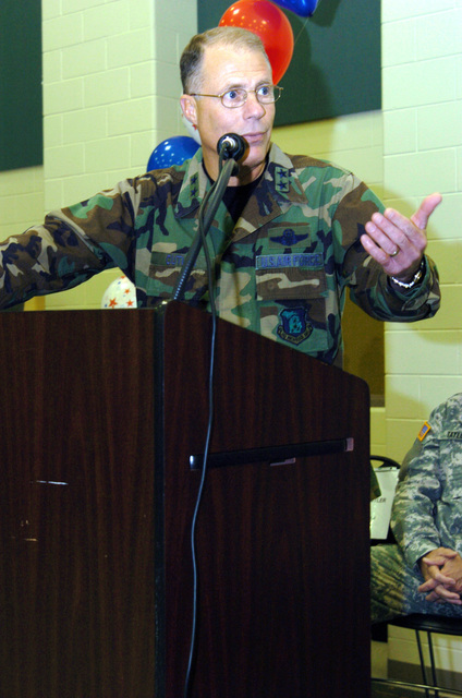 US Army (USA) Major General (MGEN) Thomas Cutler, Michigan State Adjutant General, gives a speech during a Welcome Home Ceremony, for Soldiers assigned to the 263rd Personnel Services Detachment, Michigan Army National Guard (MIARNG), at Lansing, Michigan (MI). The Soldiers are returning from a one-year deployment to Iraq, in support of Operation IRAQI FREEDOM. (A3695)Iraq, in support of Operation IRAQI FREEDOM. (A3695)