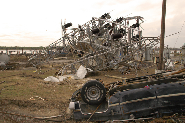 [Hurricane Rita] Cameron, LA, 11-19-05 -- Hurricane Rita destroyed this utility equipment. Power has not yet returned to Cameron, LA.  FEMA is helping Local governments get Roads, Bridges, Power and Utilities back in operation so residents can move back.  MARVIN NAUMAN/FEMA photo