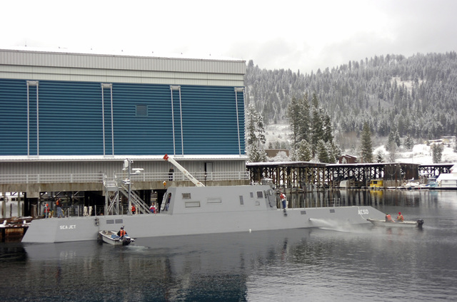 The US Navy (USN) Advanced Electric Ship Demonstrator (AESD), SEA JET, ties-up to the pier after completing its first day of sea trials on Lake Pend Oreille at the Naval Surface Warfare Center Carderock Division, Acoustic Research Detachment in Bayview, Idaho (ID). Funded by the Office of Naval Research (ONR); the SEA JET is a 133-foot vessel testing an underwater discharge water jet from Rolls-Royce Naval Marine, Inc., called AWJ-21, a propulsion concept with the goals of providing increased propulsive efficiency, reduced acoustic signature, and improved maneuverability over previous Destroyer Class combatants