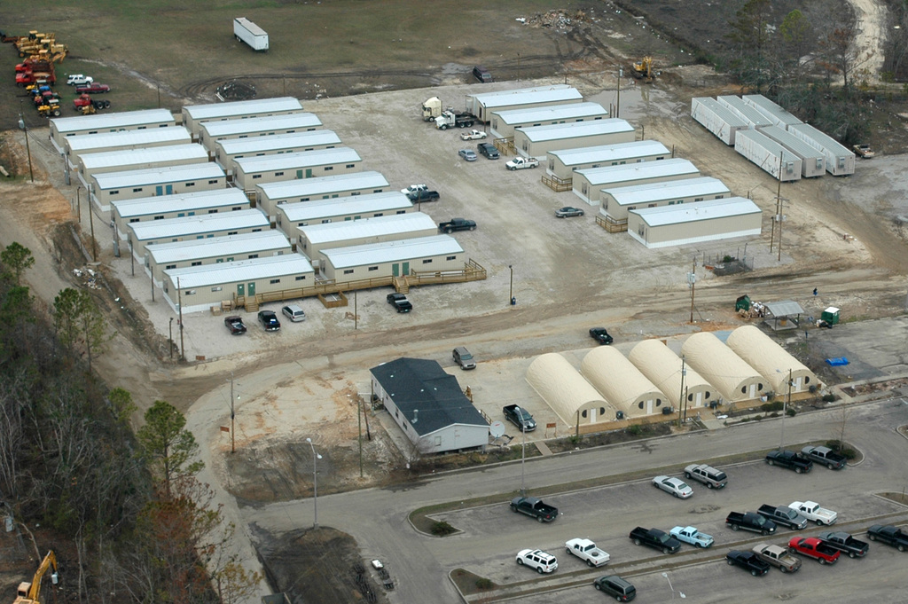 [Hurricane Katrina] Hancock County, Miss., December 8, 2005 -- The Hancock County government is currently operating out of FEMA provided temporary buildings.  Governments buildings all along the Mississippi gulf coast were destroyed by Hurricane Katrina.  Mark Wolfe/FEMA