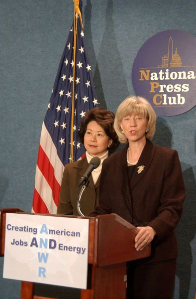 Joint appearance by Interior Secretary Gale Norton, right, and Labor Secretary Elaine Chao at the National Press Club, Washington, D.C., to tout energy production, energy security, job creation benefits of proposal before Congress to open area of Alaska's Arctic National Wildlife Refuge to oil and gas development