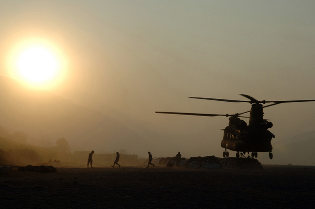 A US Army (USA) CH-47 Chinook helicopter lifts off at Qasim Air Base (AB), Pakistan, carrying humanitarian aid supplies for the needed earthquake victims at Muzaffarabad, Pakistan, as part of Task Force Eagle, conducted during OPERATION LIFELINE. The Operation is part of a multi-national Task Force (TF) in support of earthquake relief efforts in Pakistan