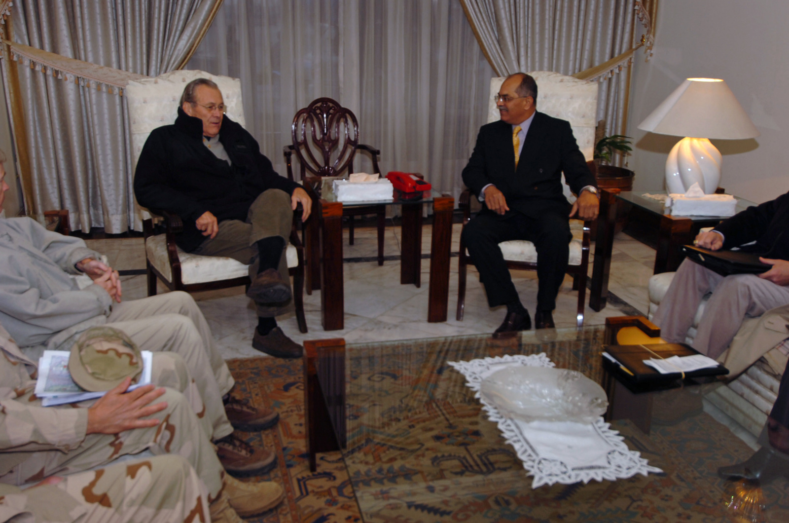 The Honorable Donald H. Rumsfeld (left), U.S. Secretary of Defense (SECDEF), and Tariq Wasim Gazi, Pakistan Minister of Defense, meet in Islamabad, Pakistan, Dec. 21, 2005, during the SECDEF visit to the affected areas of the Oct. 8, 2005 earthquake and to support the U.S. effort to aid the victims of the region.  (DoD photo by PETTY Officer 1ST Class Chad J. McNeeley) (Released)
