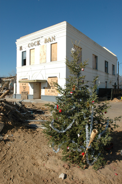 [Hurricane Katrina] Bay St. Louis, December 23, 2005 -- A community Christmas tree complete with gifts, is erected near the bay.  Bay St. Louis is hard hit by Hurricane Katrina.  Mark Wolfe/FEMA