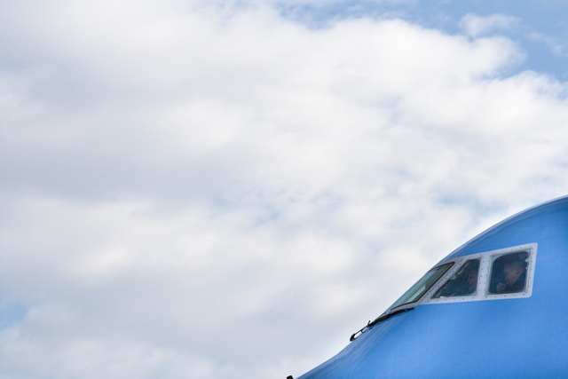 Air Force One Sits on the Tarmac at Andrews Air Force Base Awaiting Departure