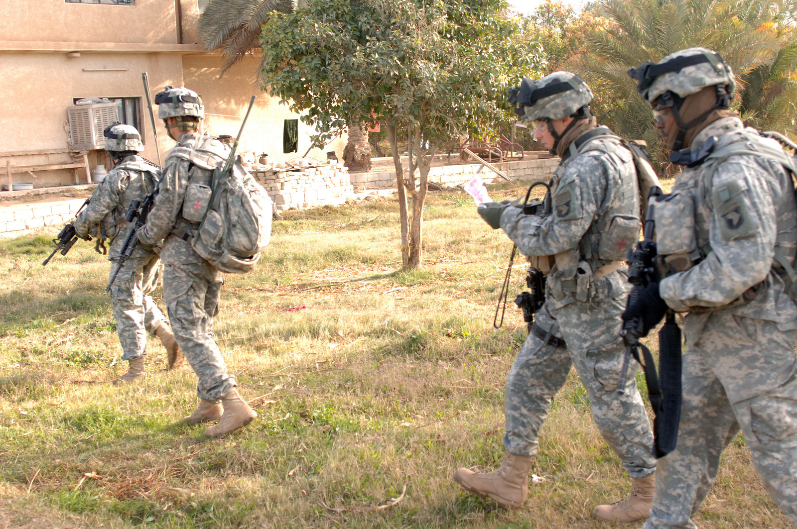 On Dec. 30, 2005 soldiers from Bravo Company, 2nd Bn, 502nd INF conducted Search and Sweep Operations in the Village of Shakaria, Iraq. CAPT. Andre Rivier, B Company Commander walked from house to house talking to locales.(U.S. Army photo by STAFF SGT. Kevin L. Moses Sr) (Released)