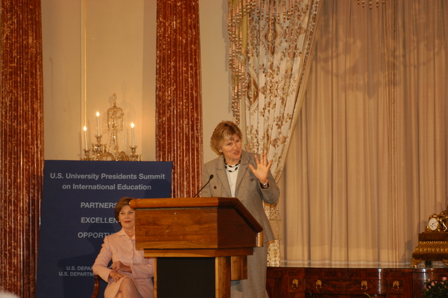 [Assignment: 59-CF-DS-24444-06] First Lady Laura Bush, Under Secretary for Public Diplomacy and Public Affairs Karen Hughes appearing at the Summit of U.S. University Presidents on International Education, Benjamin Franklin Room [Photographer: Ann Thomas--State] [59-CF-DS-24444-06_DSC_0880.JPG]