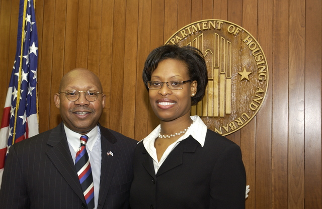 Secretary Alphonso Jackson with Laurie Zephyizin - Secretary Alphonso Jackson meeting at HUD Headquarters with Dr. Laurie Zephyrin, [physician at Johns Hopkins Medical Institution, and 2005-2006 White House Fellow]