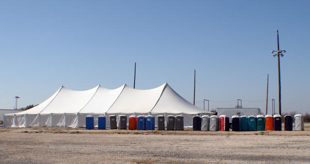 [Hurricane Rita] Cameron, LA, January 11, 2006 - One of the tents at Camp Cameron set up to sleep FEMA and State personnel as they contribute to the recovery efforts in Cameron Parish.  Hurricane Rita destroyed the area in September 2005 and much of the Gulf Coast of Louisiana.  Robert Kaufmann/FEMA