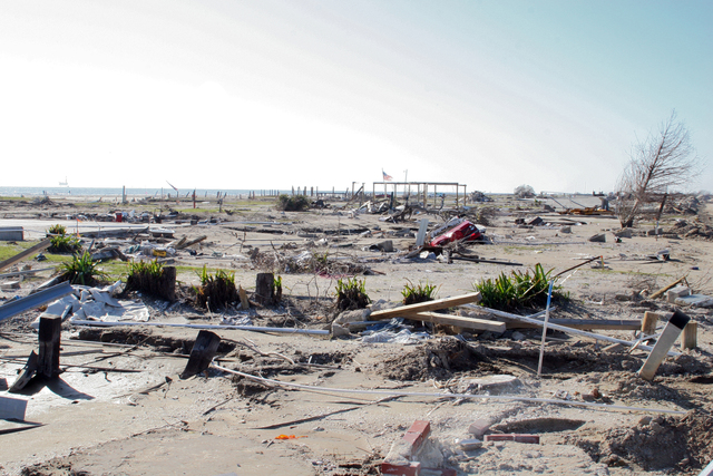 """[Hurricane Rita] Holly Beach, LA, January 11, 2006 - What once was referred to as the """"Cajun Riviera"""" is now a debris covered beach after Hurricane Rita struck in September 2005.  Holly Beach, a community in Cameron Parish, has been completely destroyed and is currently in the recovery process with the aid of FEMA.  Robert Kaufmann/FEMA"""