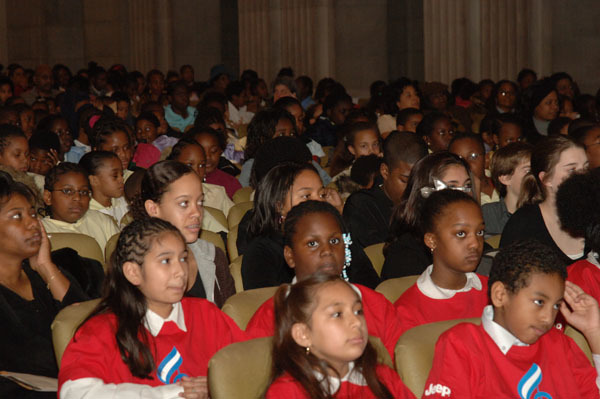 Members of the choir and colleagues from Alice Deal Junior High School, Washington, D.C., on hand for performance at Department of Interior headquarters event commemorating Martin Luther King, Jr