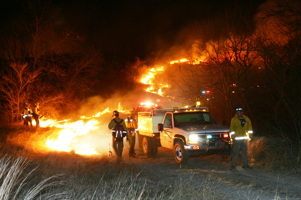 [Severe Wildfire Threat] Springer, OK, January 16, 2006 -- Firefighters from Oklahoma, North Carolina, Virginia, and the U.S Fish and Wildlife Department do a burnout operation to contain a fire that eventually burned 350 acres. Over 400,000 acres in Oklahoma have burned since November.  Bob McMillan/ FEMA Photo