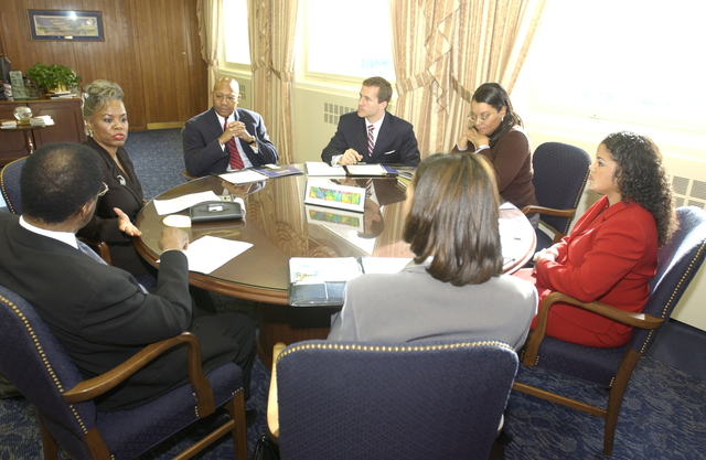 Visit of Sterling Tucker to HUD - Sterling Tucker, [former Chairman of the Washington, D.C. City Council, and former HUD Assistant Secretary for Fair Housing and Equal Opportunity], visiting HUD Headquarters for meeting with Secretary Alphonso Jackson and staff