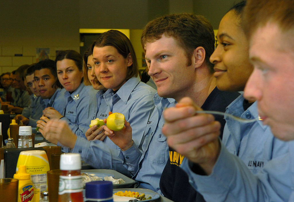 Driver Dale Earnhardt Jr , enjoys lunch with recruits at the