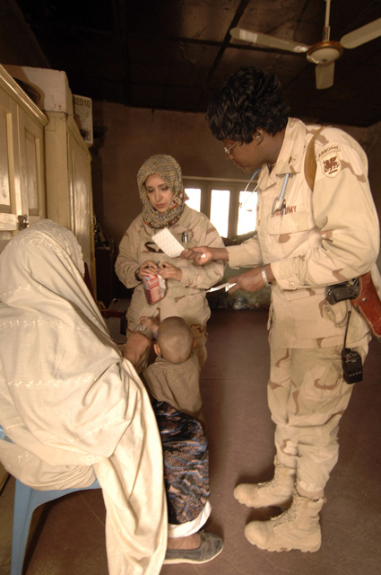 U.S. Army Major Rhonda Newsome from the CJTF 76 Surgeon Cell treats an Afghan women during a Village Medical Outreach at Kandahar City, Afghanistan, 28 January, 2006. (U.S. Army PHOTO by SPC. Leslie Angulo) (Released)