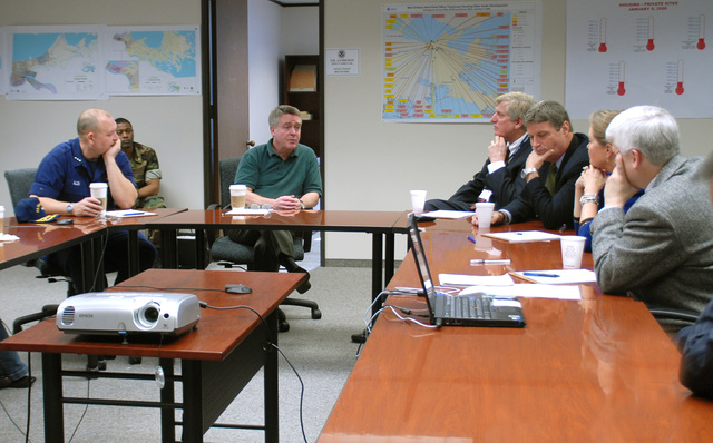 [Hurricane Katrina] New Orleans, LA, 01-31-06 -- FCO/PFO Vice Admiral Thad Allen and FEMA Deputy Director of Gulf Coast Recovery Gil Jamieson address members of the Department of Justice Task Force at the New Orleans FEMA Area Field Office.  Vice Admiral Thad Allen and Gil Jamieson are meeting with the Department of Justice Task Force to assist them in coordinating recovery efforts.  MARVIN NAUMAN/FEMA photo