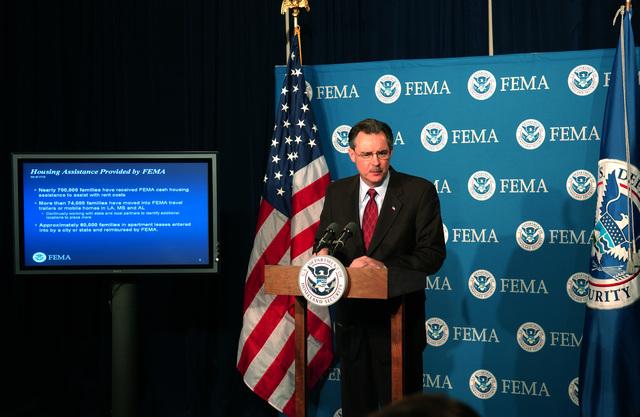 [Hurricane Katrina] Washington, DC, February 1, 2006 -- FEMA Acting Director R. David Paulison answers questions at a FEMA headquarters press briefing on Housing Assistance for Hurricane victims in Louisiana.  Bill Koplitz/FEMA
