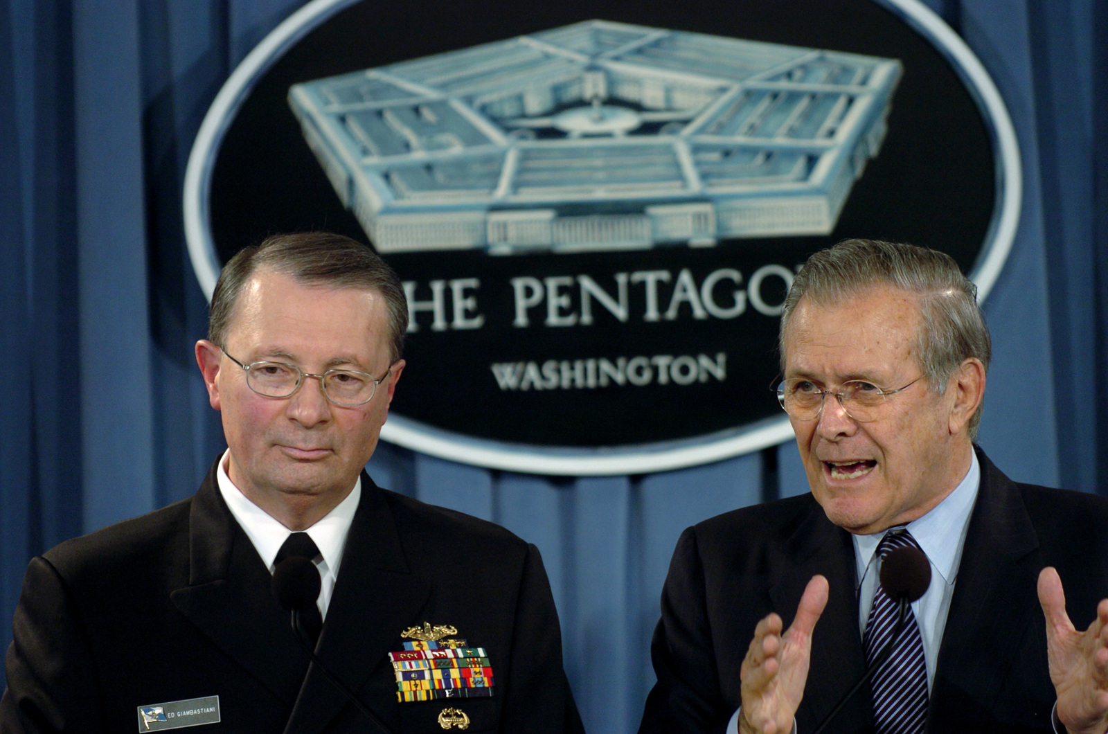 The Honorable Donald H. Rumsfeld (right), U.S. Secretary of Defense, and U.S. Navy Adm. Edmund P. Giambastiani (left), Vice Chairman of the Joint Chiefs of STAFF, answer questions during a press conference in the Pentagon on Feb. 1, 2006. (DoD photo by TECH. SGT. Sean P. Houlihan) (Released)