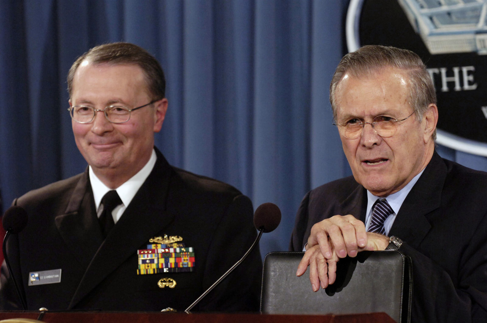 The Honorable Donald H. Rumsfeld (right), U.S. Secretary of Defense, and U.S. Navy Adm. Edmund G. Giambastiani, Jr., Vice Chairman of the Joint Chiefs of STAFF, respond to questions at a press conference at the Pentagon, Washington, D.C., Feb. 1, 2006.  (DoD photo by PETTY Officer 1ST Class Chad J. McNeeley) (Released)