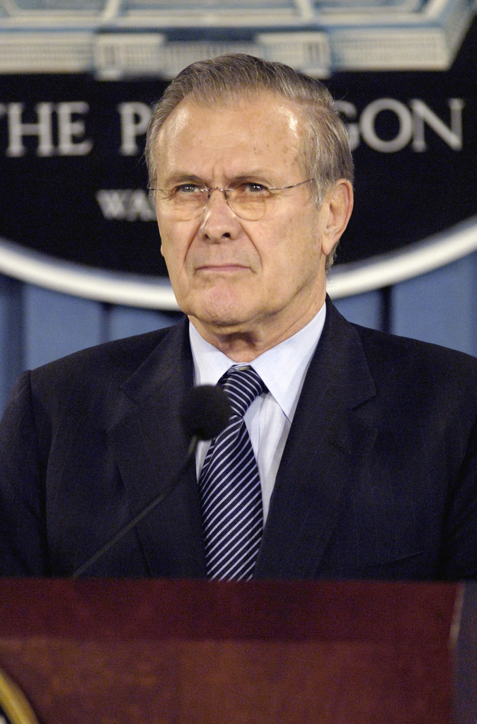 The Honorable Donald H. Rumsfeld, U.S. Secretary of Defense, responds to questions at a press conference at the Pentagon, Washington, D.C., Feb. 1, 2006.  (DoD photo by PETTY Officer 1ST Class Chad J. McNeeley) (Released)