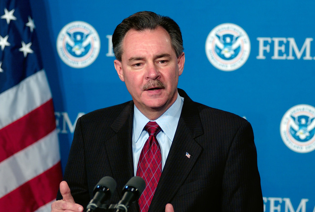 Washington, DC, February 1, 2006 -- FEMA Acting Director R. David Paulison answers questions at a FEMA headquarters press briefing on Housing Assistance for Hurricane victims in Louisiana.  Bill Koplitz/FEMA