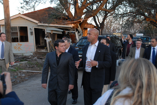 [Hurricane Katrina] New Orleans, LA, 02-3-06 -- As he walks through the 9th Ward with King Abdullah II bin Al-Hussein, Mayor Ray Nagin explains what happen in 9th Ward neighborhood when Hurricane Katrina struck and what problems this area faces both in recovery and protecting from future disasters.  The King of Jordan is taking the foot tour of the 9th Ward to see first hand what happen here and to see first hand how we respond and handle disasters and what lessons can be learned and applied to disasters in his country.  MARVIN NAUMAN/FEMA photo