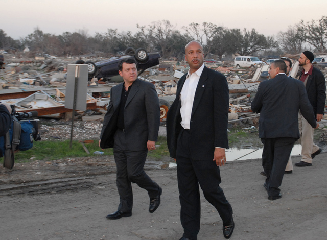 [Hurricane Katrina] New Orleans, LA, 02-3-06 -- Mayor Ray Nagin takes King Abdullah II Bin Al-Hussein of Jordan on a walking tour of the 9th Ward neighborhood. The King of Jordan is taking the foot tour of the 9th Ward to see what happened and to see how we respond and handle disasters and what lessons can be learned and applied to disasters in his country.  MARVIN NAUMAN/FEMA photo