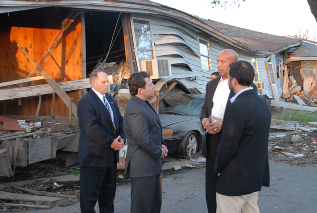[Hurricane Katrina] New Orleans, LA, 02-3-06 -- Mayor Ray Nagin talks with King Abdullah II Bin Al-Hussein of Jordan about the issues this 9th ward community faces from Hurricane Katrina.  The King of Jordan is taking the foot tour of the 9th Ward to see first hand what happen here and to learn how we respond and handle disasters and what lessons can be learned and applied to disasters in his country.  MARVIN NAUMAN/FEMA photo