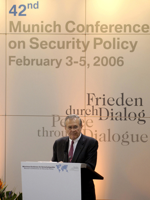 "The Honorable Donald H. Rumsfeld, U.S. Secretary of Defense, speaks during the 42nd Munich Conference on Security Policy at Munich, Germany, on Feb. 4, 2006. The conference, which was attended by more than 250 participants from over 50 countries, was centered on the theme""Europe and the United States: The Renewal of Transatlantic Partnership.""(DoD photo by PETTY Officer 1ST Class Chad J. McNeeley) (Released)"