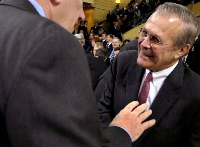 "The Honorable Donald H. Rumsfeld, U.S. Secretary of Defense, speaks with an attendee of the 42nd Munich Conference on Security Policy at Munich, Germany, on Feb. 4, 2006. The conference, which was attended by more than 250 participants from over 50 countries, was centered on the theme""Europe and the United States: The Renewal of Transatlantic Partnership.""(DoD photo by PETTY Officer 1ST Class Chad J. McNeeley) (Released)"