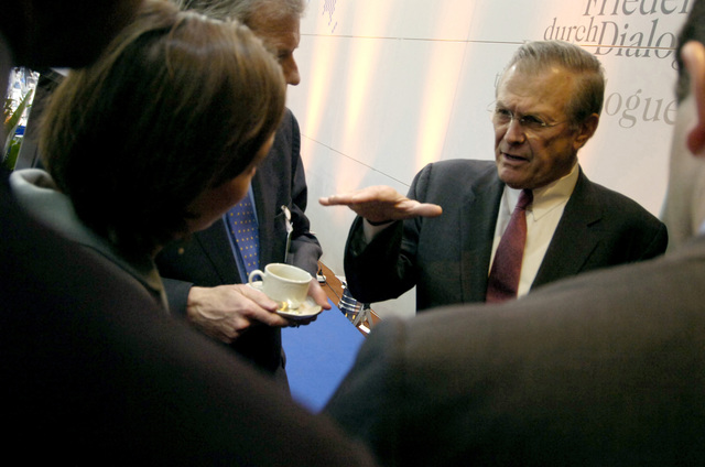 "The Honorable Donald H. Rumsfeld, U.S. Secretary of Defense, speaks with attendees of the 42nd Munich Conference on Security Policy at Munich, Germany, on Feb. 4, 2006. The conference, which was attended by more than 250 participants from over 50 countries, was centered on the theme""Europe and the United States: The Renewal of Transatlantic Partnership.""(DoD photo by PETTY Officer 1ST Class Chad J. McNeeley) (Released)"