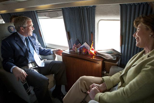 President George W. Bush and Mrs. Laura Bush aboard Marine One