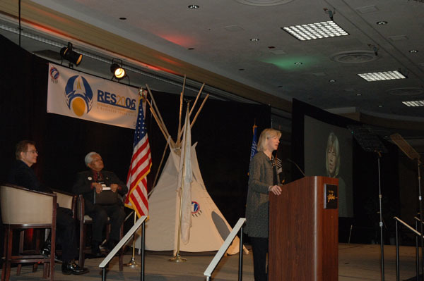 Secretary Gale Norton delivering address at the Reservation Economic Summit and Business Trade Fair, Res 2006, at the Hilton Hotel in Las Vegas, Nevada. Event, organized by the National Center for American Indian Enterprise Development, featured appearances by federal officials and tribal representatives
