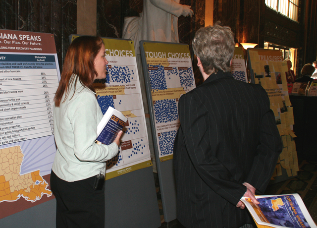"""[Hurricane Katrina] Baton Rouge, LA, February 8, 2006 -- A display with the results of the """"Louisiana Speaks"""" town meetings regarding long term recovery planning at the State Building Rotunda.  The purpose of this event, Planning Day at the Legislature, is to give members of the Legislature an opportunity to view what residents consider most important to be included in future reconstruction.  Robert Kaufmann/FEMA"""