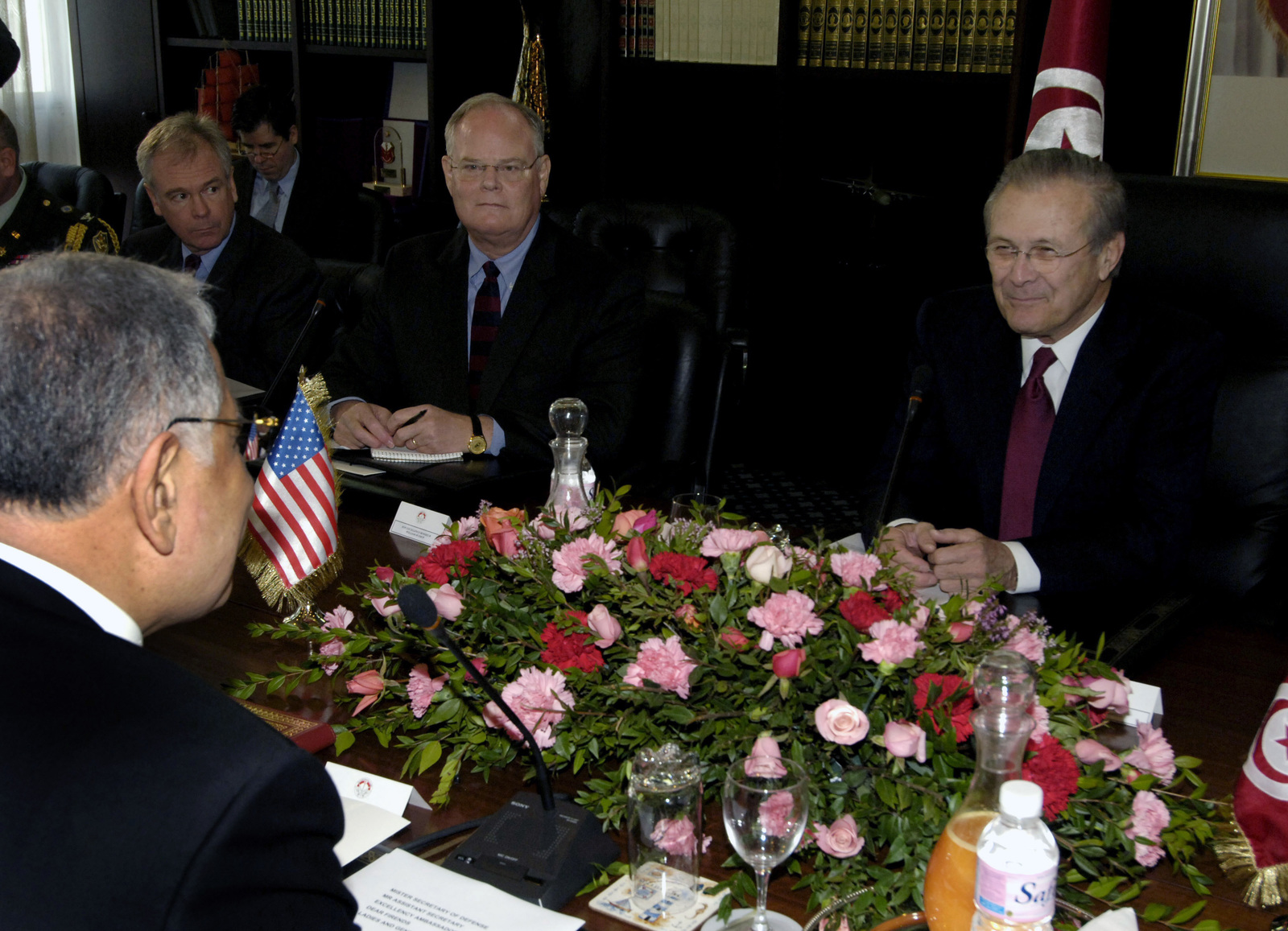 The Honorable Donald H. Rumsfeld, right, U.S. Secretary of Defense, and Tunisian Minister of Defense Kamel Morjane, left, hold a bilateral talk at Tunis, Tunisia, on Feb 11, 2006. Sec. Rumsfeld is on a tour of numerous North African countries after attending the North Atlantic Treaty Organization (NATO) Defense Minister Meeting in Italy. (DoD photo by PETTY Officer 1ST Class Chad J. McNeeley) (Released)