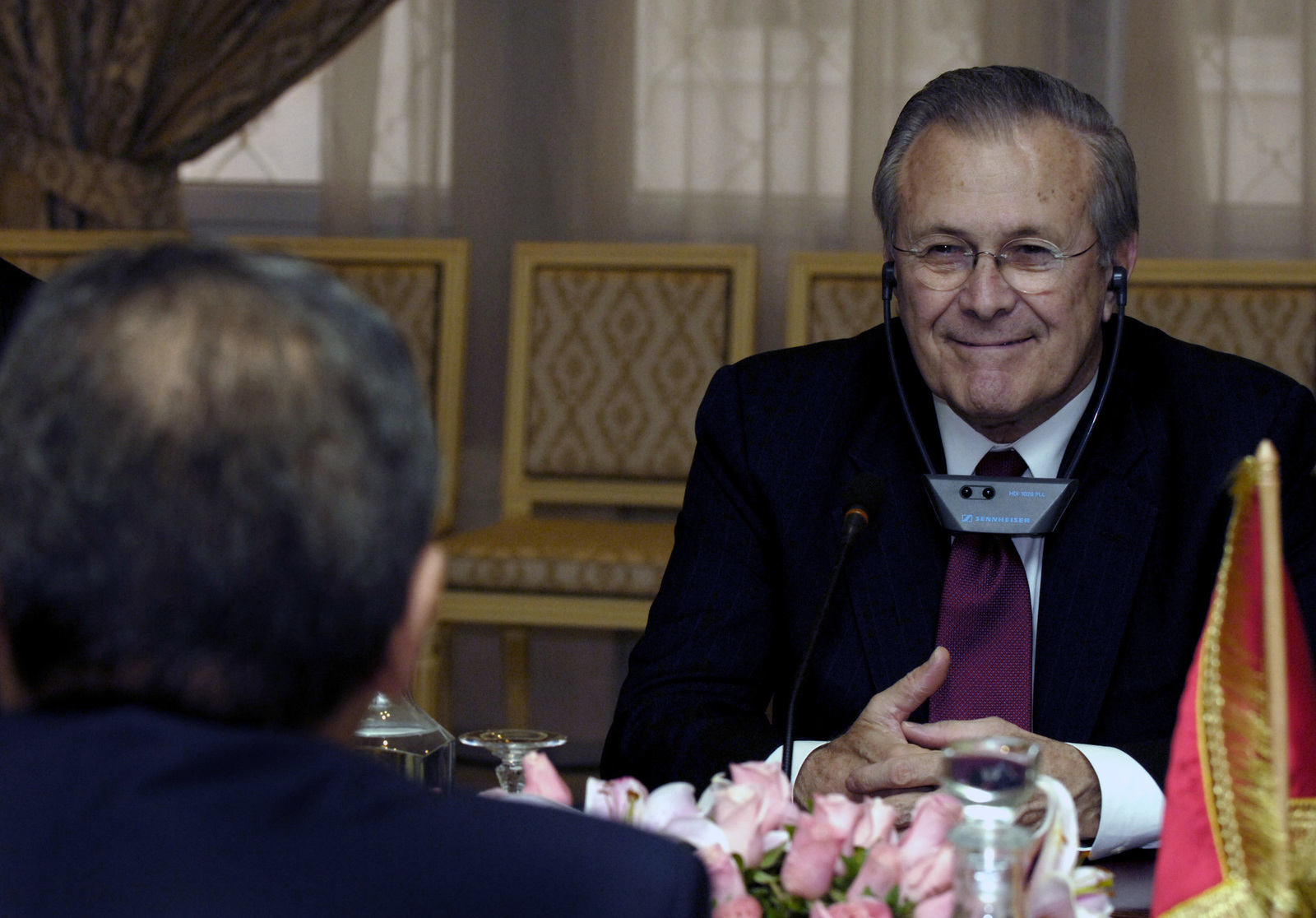 The Honorable Donald H. Rumsfeld, U.S. Secretary of Defense, attends a bilateral talk with Tunisian officials during his visit in Tunis, Tunisia, on Feb 11, 2006. Sec. Rumsfeld is on a tour of numerous North African countries after attending the North Atlantic Treaty Organization (NATO) Defense Minister Meeting in Italy. (DoD photo by PETTY Officer 1ST Class Chad J. McNeeley) (Released)