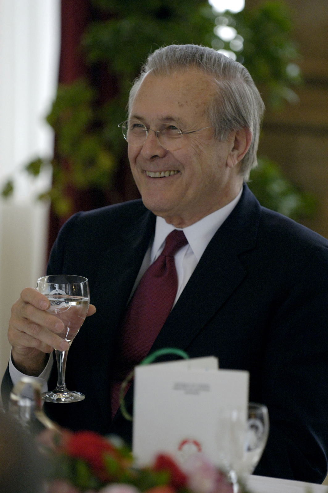 The Honorable Donald H. Rumsfeld, U.S. Secretary of Defense, listens to welcoming comments during a luncheon for him hosted by Tunisian Minister of Defense Kamel Morjane during his arrival in Tunis, Tunisia, on Feb 11, 2006. Sec. Rumsfeld is on a tour of numerous North African countries after attending the North Atlantic Treaty Organization (NATO) Defense Minister Meeting in Italy.  (DoD photo by PETTY Officer 1ST Class Chad J. McNeeley) (Released)