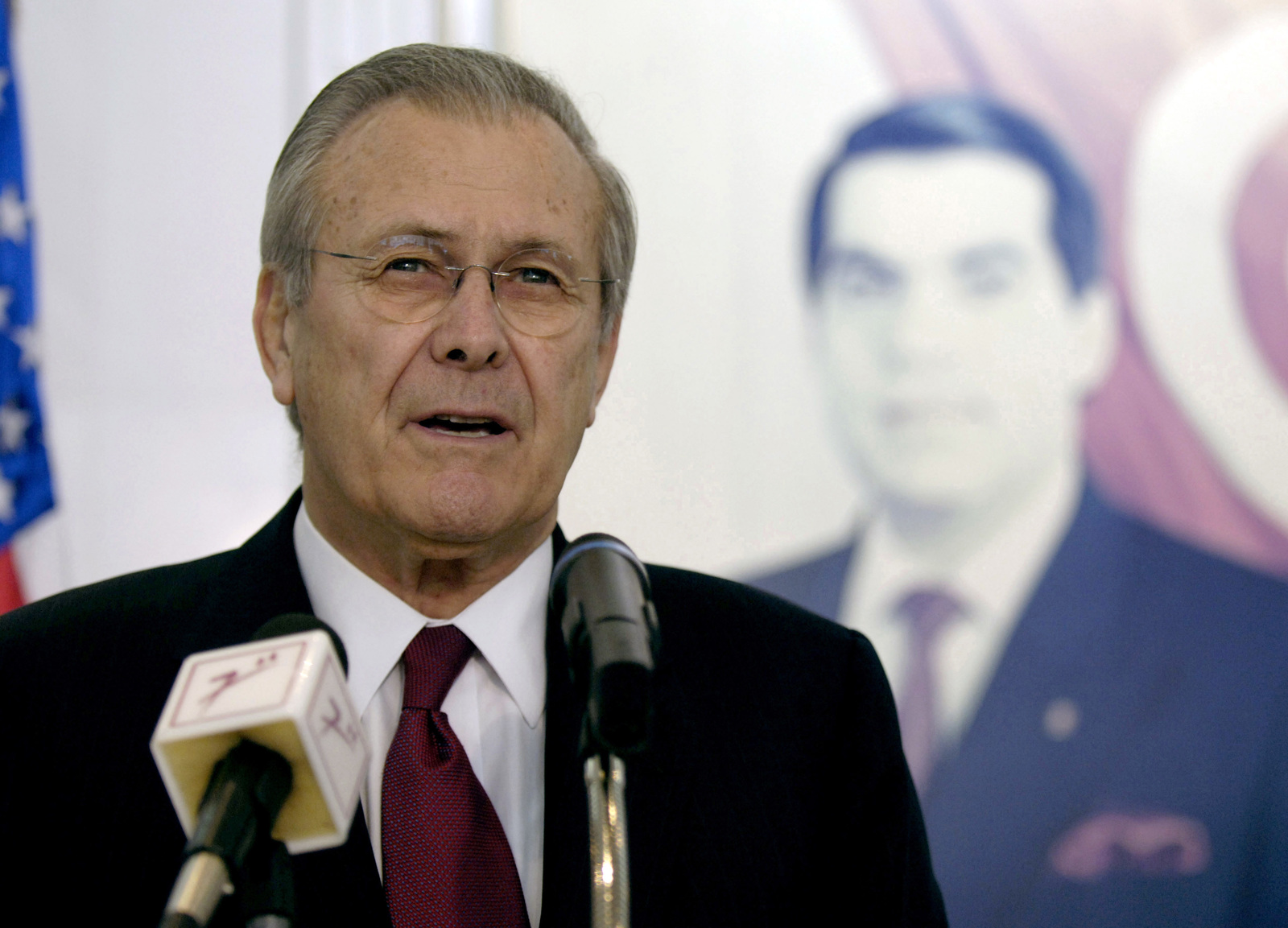 The Honorable Donald H. Rumsfeld, U.S. Secretary of Defense, talks to the press during his visit at Tunis, Tunisia, on Feb 11, 2006. Sec. Rumsfeld is on a tour of numerous North African countries after attending the North Atlantic Treaty Organization (NATO) Defense Minister Meeting in Italy. (DoD photo by PETTY Officer 1ST Class Chad J. McNeeley) (Released)
