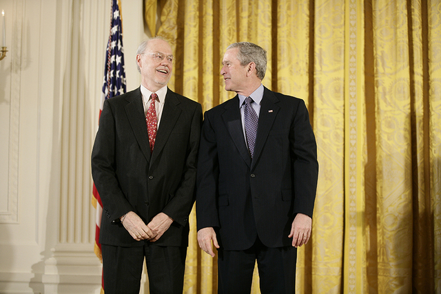 President George W. Bush with Medal of Science Recipient  Dr. Phillip A. Sharp