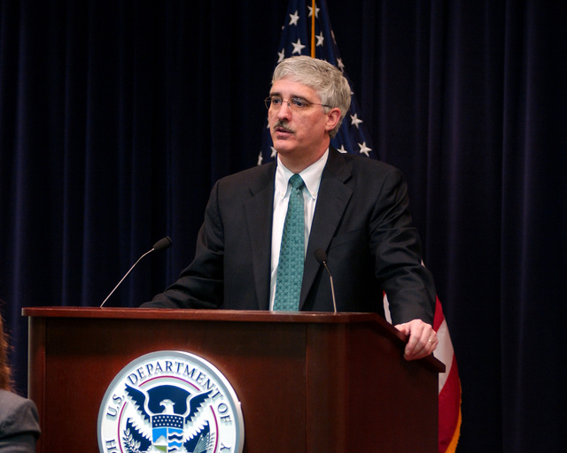Washington, DC, February 13, 2006 -- Deputy Director of the Department of Homeland Security, Michael Jackson, speaks at a FEMA all hands meeting to let FEMA employees know how DHS is going to streamline the disaster response and recovery process.  FEAM/Bill Koplitz