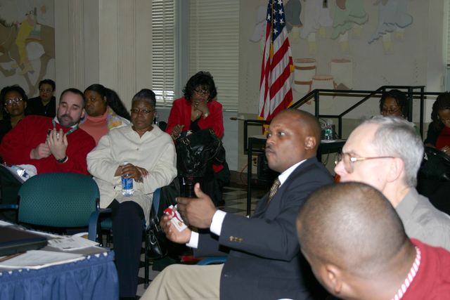 [Assignment: 48-DPA-N_Book_Am_Hend] Book forum [at Main Interior,  featuring presentations by] Anthony Amerson, [author of Great Courage: The First Black Sheriff Elected in the South Since Reconstruction (story of Macon County, Alabama sheriff Lucius Amerson, elected in 1967),] and Sylvia Henderson, [author of Why You Talk So White? Eliminate the Behaviors That Sabotage Your Success] [48-DPA-N_Book_Am_Hend_IMG_4964.JPG]