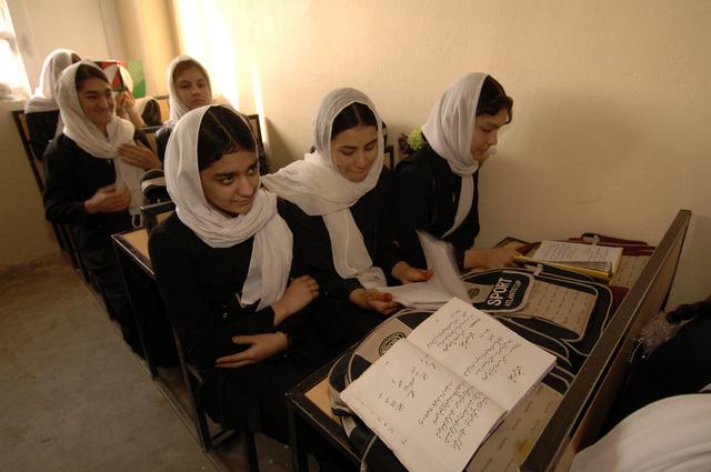 A class of young Afghan women attending language class at Shahed Sayed Padsha School, during a MEDCAP (medical operartions), Kandahar City, Afghanistan, 15 February 2006. (U.S. Army PHOTO by SPC. Leslie Angulo) (Released)