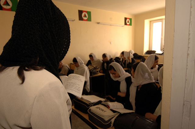 A view of Afghan female language class at the Shahed Sayed Padsha School, during a MEDCAP (medical operations), Kandahar City, Afghanistan, 15 February 2006. (U.S. Army PHOTO by SPC. Leslie Angulo) (Released