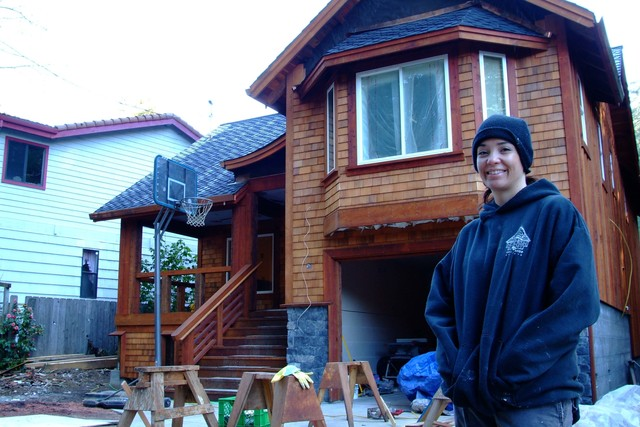 [Severe Storms, Flooding, Mudslides, and Landslides] Guerneville, CA -Feb. 15, 2006 - Spending less than 10,000 dollars to mitigate flooding along the russian river, homeowner Layla Donaldson elevated her home ten feet and avoided damage from recent flooding. Photo by Adam DuBrowa.