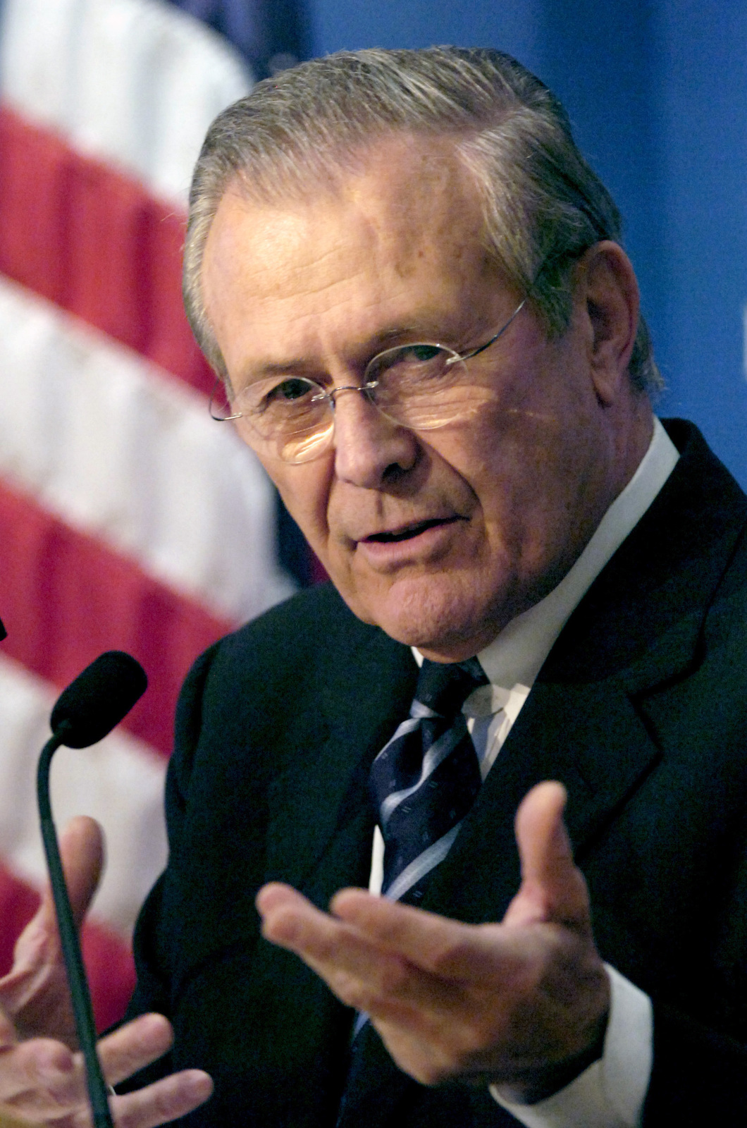 The Honorable Donald H. Rumsfeld, U.S. Secretary of Defense, speaks to members of the Council on Foreign Relations at the Harold Pratt House in New York City, N.Y., on February 17, 2006. (DoD photo by PETTY Officer 1ST Class Chad J. McNeeley) (Released)