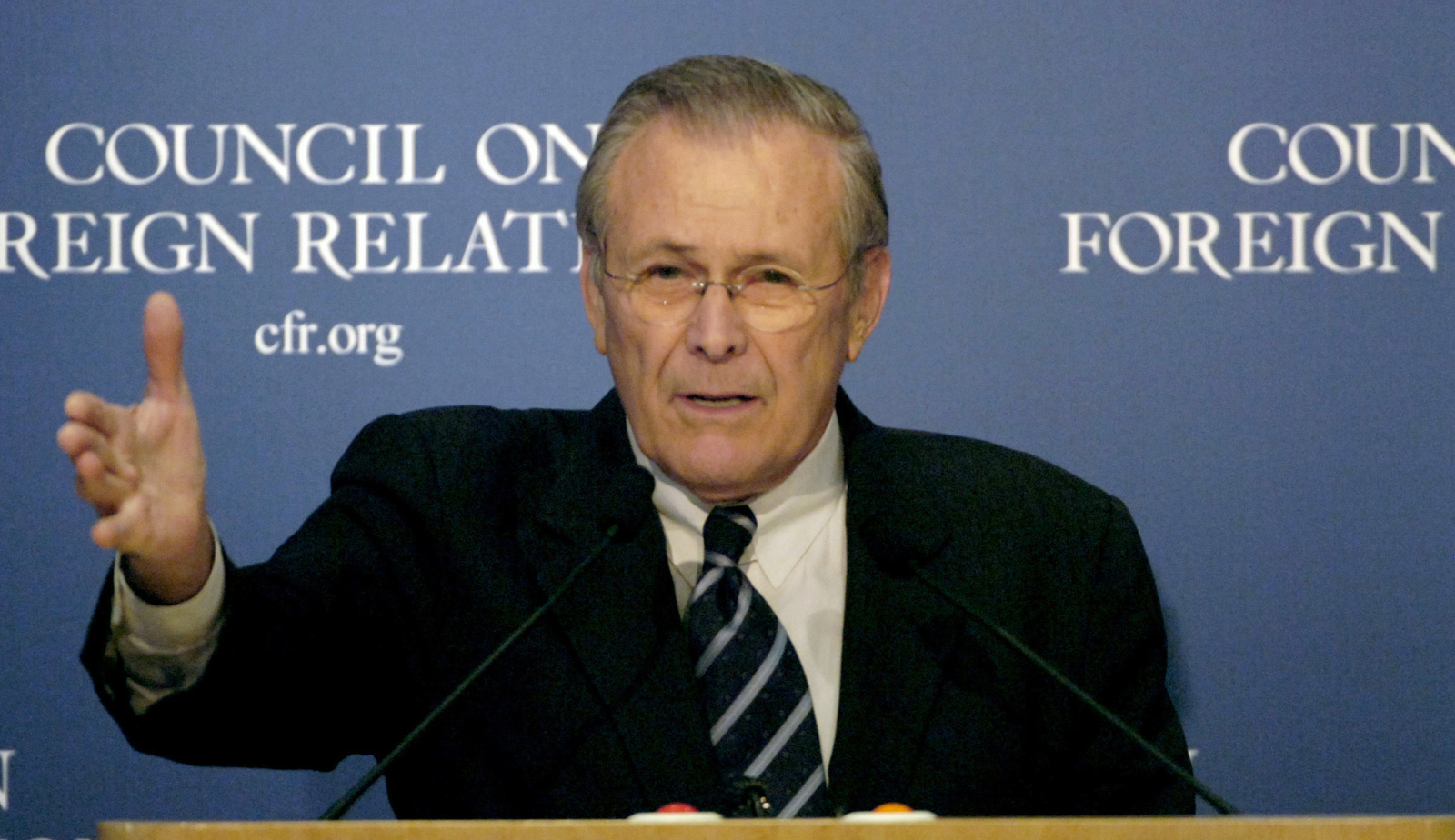 The Honorable Donald H. Rumsfeld, U.S. Secretary of Defense, talks to the Council on Foreign Relations at the Harold Pratt House in New York City, N.Y., on February 17, 2006. (DoD photo by PETTY Officer 1ST Class Chad J. McNeeley) (Released)